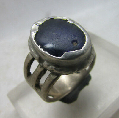 Lovely Post Medieval Decorated Silvered Bronze Ring With Stone Insert.