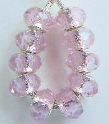 14 /& 5mm Hole B038 10 Red Pink Pedals Glass Beads Fit European Style Jewelry 9