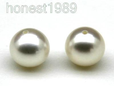 Match Pair Loose 6mm AAA+ White Perfect Round Akoya Sea Pearls Half Drilled