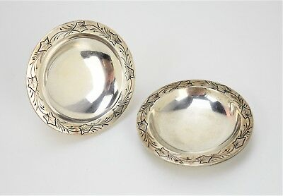 Pair of Antique American Coin Silver ~Albert Coles~ Salt Cellar Dishes New York