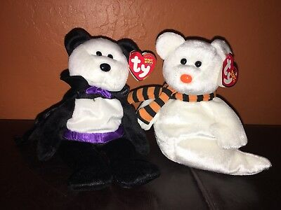 Ty Beanie Babies Halloween COUNT vampire bear & QUIVERS ghost set with tags