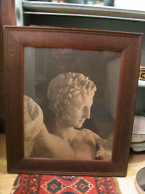 Amazing Antique Framed Photo of Early Greek or Roman Statue