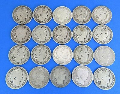1906 - 1915 Barber Half Dollar Silver 20 Coin Lot Full Rims G-VG 235.6g Mixed