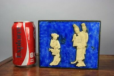 19th/20th C. Chinese Appliqued Wood Base Shaofalang Covered Box