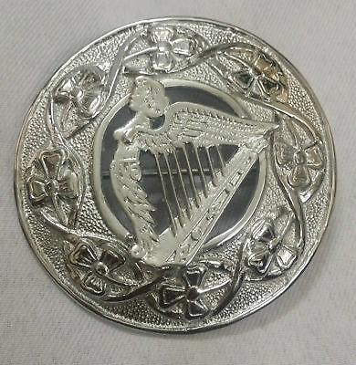 "Scottish Kilt Fly Plaid Brooch Irish Harp Chrome Finish 3"" Celtic Pin Brooches"