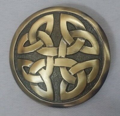 """Scottish Kilt Fly Plaid Brooch Celtic Knot Round Antique Finish 3""""/Pin Brooches"""