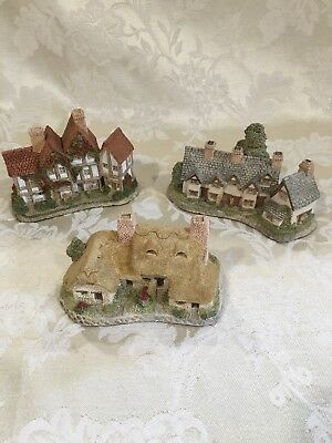 David Winter Cottages, Lot #4, Collection of 3 w/original boxes and COAs