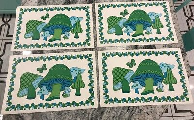 Vintage Retro 1970's Set of 4 Mushroom Plastic Green Teal Blue Placemats.