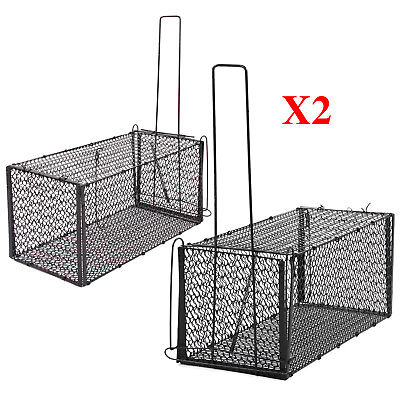 2 X Rat Catcher Spring Cage Trap Humane Large Animal Rodent Indoor Outdoor UK