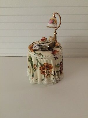 Dollhouse Miniatures Reutter Porcelain Draped Side Table with Lamp, New, 1:12