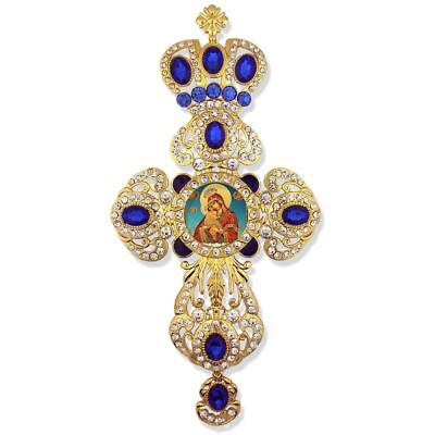 Virgin Of Pochaev Madonna and Child Jeweled Wall Cross Pendant w/ Blue Stones 9