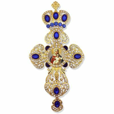 Virgin Mary I am w/ You Jeweled Wall Cross Pendant w/ Blue Stones 9 Inch