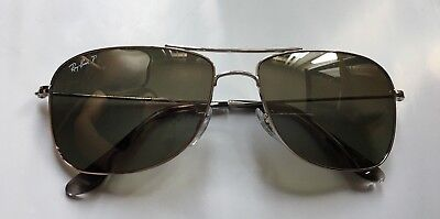 0695016e33 AUTHENTIC RAY BAN RB3543 Polarized BLUE Chromance Aviator Silver ...