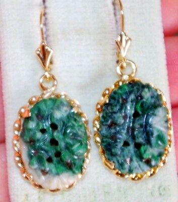 Antique Chinese Carved Untreated Green Jadeite Jade 14K Lever Back Earrings Aa