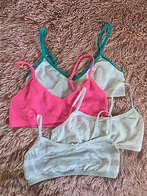 Lot of 4 Girls Training Bras Sz 6 Small (2 Hanes and 2 Cat & Jack)