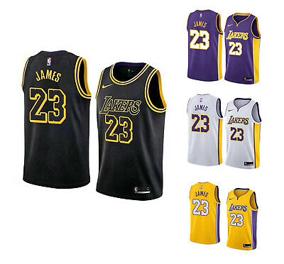 66bf39ea New Lebron James Jersey #23 Los Angeles Lakers Black White Purple Yellow  S-2XL