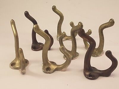 Vtg coat hat double hooks Cast iron brass plated worn paint patina - Lot of 7
