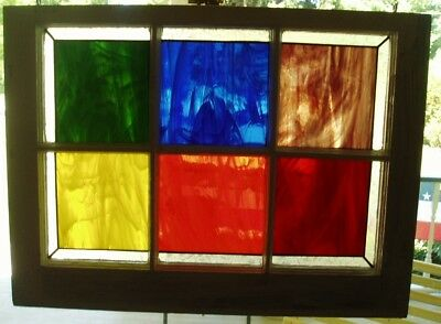 Old window frame/ Stained glass---six primary colors with Glue-chip glass border