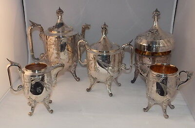 REED BARTON Silver Plate 5 pc Tea Set with RARE Butler Call Bell Engraved G
