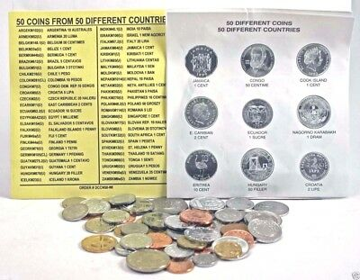 50 Different Coins From 50 Different Countries Uncirculated with List