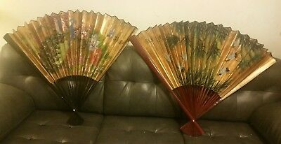 2 Large Wall Hanging Folding Hand Fan - Peacock & Flowers and with Flying Geese