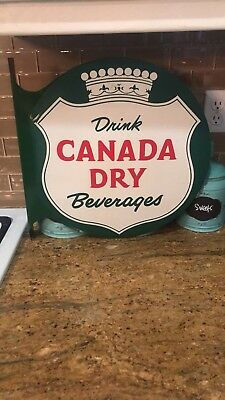 Rare 1939 Canada Dry Flange Sign. Measures 18x17 1/2 inches