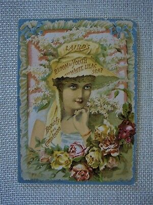 Antique Victorian Lithographed Trade Card Lairds White Lilac Soap Pretty Woman