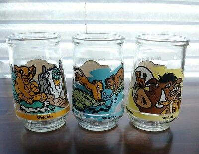 Set Of 3 VINTAGE Welch's Jelly Glasses Disney's The Lion King II - Simbas Pride