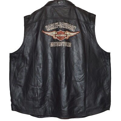 Harley Davidson Men 4XL Black Classic Leather Blowout Vest Embroidered Wings New