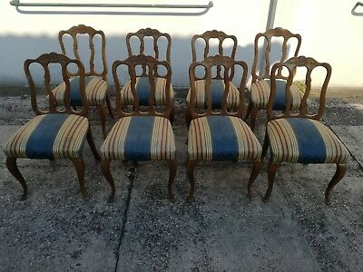 Batch of 8 chairs Luigi Filippo in oak seat springs padded chair