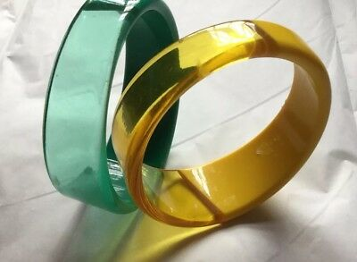 VTG Two Lucite Bangle Angled Bracelets~Green & Yellow Clear & Solid 1960s  MOD