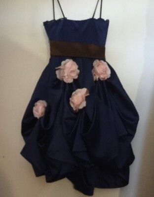 VTG BETSEY JOHNSON EVENING ~PARTY GIRL Pink Rosettes COBALT BLUE RUCHED GOWN