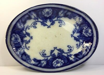 Antique French Pottery Dish Paris Cobalt Blue 1850-65