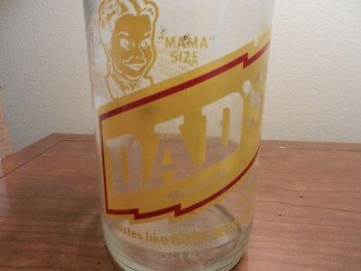"Vgt DAD's family root beer ""MAMA"" size rare clear pop bottle"