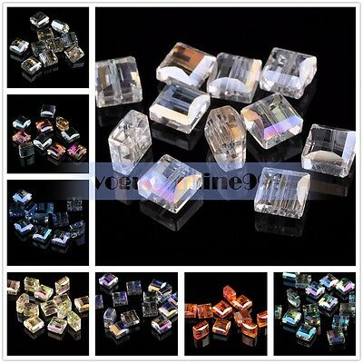 20pcs 10mm Faceted Crystal Glass Flat Cube Square Loose Spacer Beads Findings