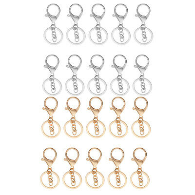 20x Snap Lobster Clasps Clips Hook with Chain Keychain Key Ring Silver Gold