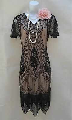 1920 Style Gatsby Vintage Charleston Sequin Beaded Flapper Dress 10 12 14 16 18