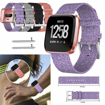 Replacement Woven Canvas Nylon Watch Band Strap Wristband For Fitbit Versa Watch
