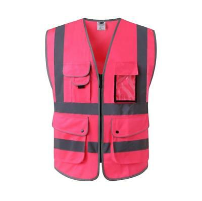 8 Pockets Hi Visibility Zipper Front Safety Vest with Reflective Strips Pink