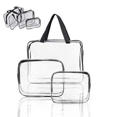 3Pcs/Set Makeup Bag Travel Organizer Toiletry Clear PVC Cosmetic Wash Pouch Kit
