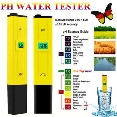 Digital pH Wert Meter Messgerät Messer PH Tester mit LCD-Display Wassertester