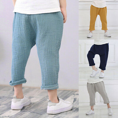 Fashion Girls Boys Casual Linen Pleated Pants Ankle Length Plain Loose Trousers
