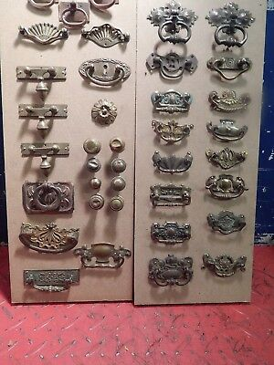 Antique Vintage Lot Of 38 Brass Cabinet Handles  Restoration Furniture