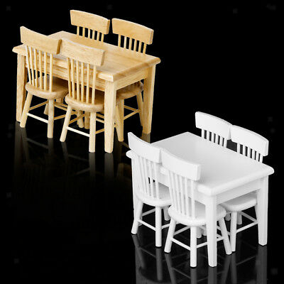 Miniature Dollhouse Kitchen Furniture Wooden Dining Table and 4 Chairs Set