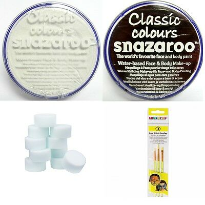 Professional SNAZAROO 75ML Face & Body Paint X-LARGE POT ~ Sponges & Brushes acc