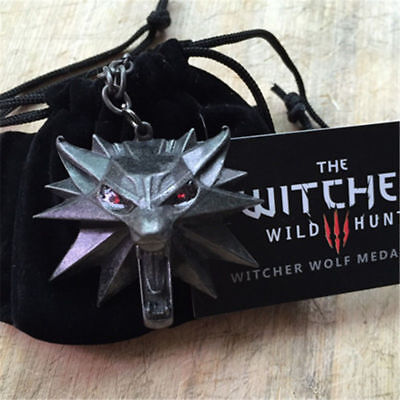The Witcher Wild Hunt III Necklace Wolf Medallion 3 Head Chain Pendant Of Geralt