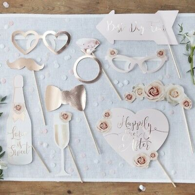 HEN PARTY or WEDDING PHOTO BOOTH PROPS - Rose Gold - Luxury Quality Team Bride