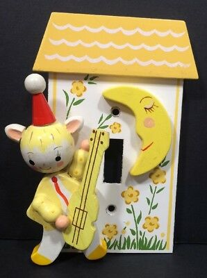 Vintage Irmi Switchplate Yellow Moon Hey Diddle Cat Fiddle Baby Nursery