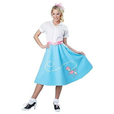 Womens Blue 50's Poodle Skirt Costume