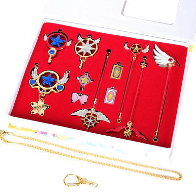Cardcaptor Sakura Clow Card Magic Wand Pendant Necklace Cosplay Keychain Set 11